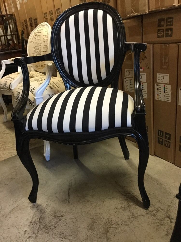 French Provincial Louis Xv Chairs Arm Chair Bedroom Black