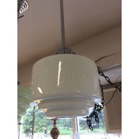 ORIGINAL ART DECO LAMP WHITE BEEHIVE ORIGINAL SHADE GALLERY CHROME No.23