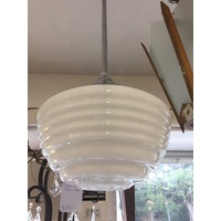 ORIGINAL ART DECO LAMP WHITE BEEHIVE ORIGINAL SHADE GALLERY CHROME No.22