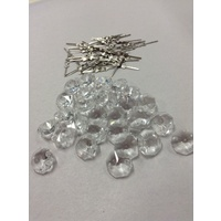 30x CHANDELIER CRYSTALS OCTAGONS 14mm 2 HOLE CRYSTAL CLEAR + JOINS BOWTIES CHROM