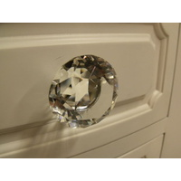 CLEAR CRYSTAL KITCHEN VANITY DRAWER KNOB 30mm PRINCESS CUT