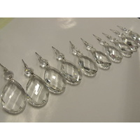 12x ALMOND COMPLETE CHROME DROP PART CHANDELIER LEAD CRYSTAL DROPS 50mm the best