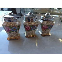 VINTAGE JAMES KENT OLD FOLEY BALMORAL 5070 3 PIECE CRUET SET SALT PEPPER  CHINTZ