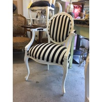 FRENCH PROVINCIAL LOUIS XV CHAIRS ARM CHAIR BEDROOM WHITE FRAME BLACK STRIPE