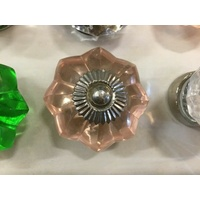 PINK GLASS STAR KITCHEN DRAWER HANDLE CABINET BEDSIDE TABLE KNOB CHROME 45mm