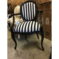 FRENCH PROVINCIAL LOUIS XV CHAIRS ARM CHAIR BEDROOM BLACK WHITE STRIPE FRAME