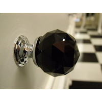 BLACK CRYSTAL BATHROOM VANITY DRAWER HANDLE KNOB 30mm