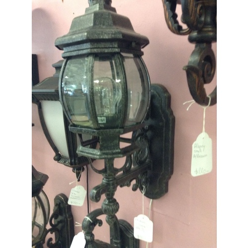 LARGE BLACK EXTERIOR WALL LIGHT VICTORIAN FEDERATION FRENCH COUNTRY VINTAGE WB2